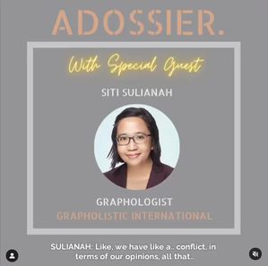 Adossier Podcast Interview on Graphology - Grapholistic International S.Sulianah